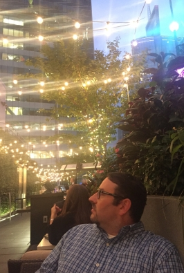 Enjoying our evening cocktails at the Knickerbocker Rooftop Bar